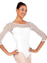 Womens Lace 3/4 Sleeve Compression Leotard