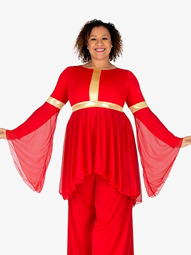 Womens Plus Size Long Sleeve High Low Worship Tunic - Style No BT5257P