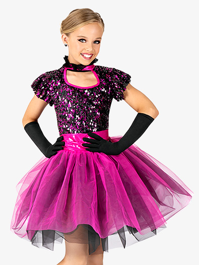 Girls Performance Two-Tone Sequin Short Sleeve Tutu Dress - Style No EL261C
