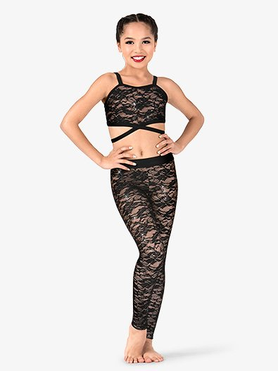 Girls Floral Lace Dance Leggings - Style No N7498C