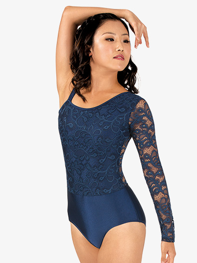 Womens Asymmetrical Lace Long Sleeve Leotard - Style No N7640x