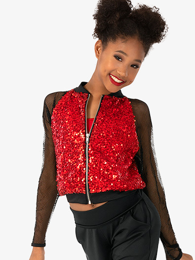 Girls Performance Sequin Mesh Long Sleeve Jacket - Style No N7827C