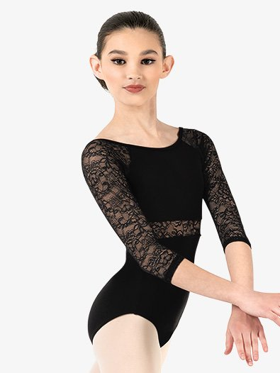 Child Floral Lace 3/4 Sleeve Leotard - Style No NC8886C