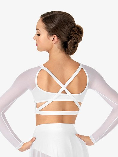Adult Long Sleeve X-Back Dance Crop Top - Style No NL9020